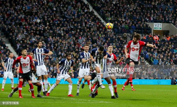 Jack Stephens of Southampton FC scores to put his team 21 up during the Premier League match between West Bromwich Albion and Southampton at The...