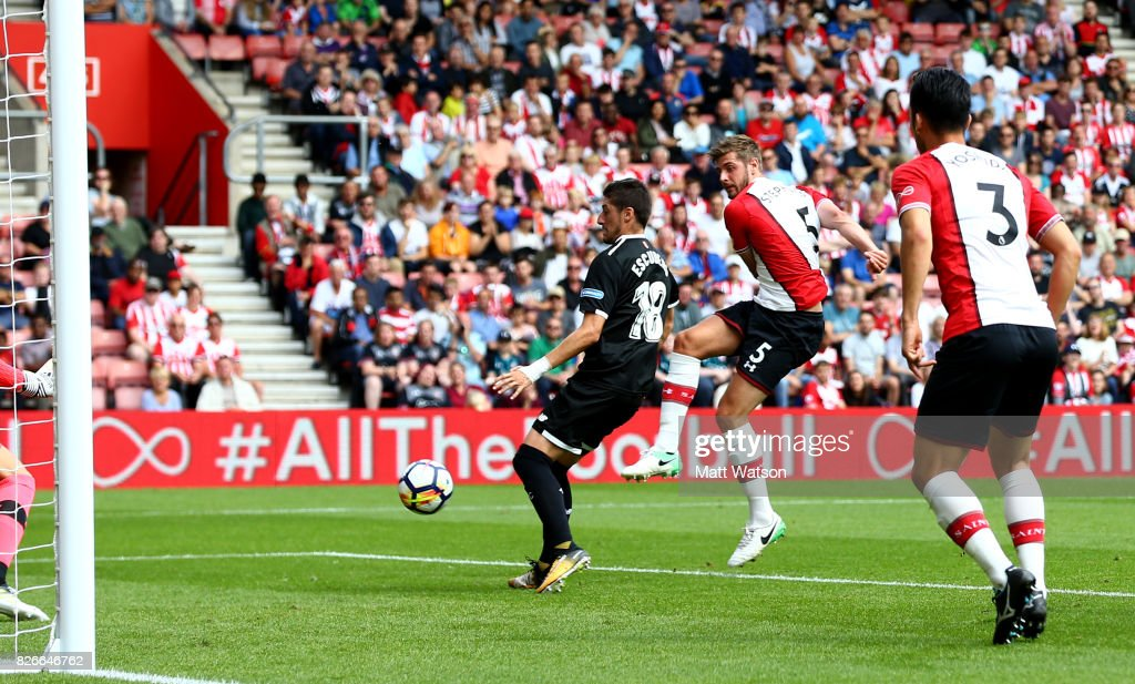 Jack Stephens of Southampton scores during the pre-season friendly between Southampton FC and Sevilla at St. Mary's Stadium on August 5, 2017 in Southampton, England.