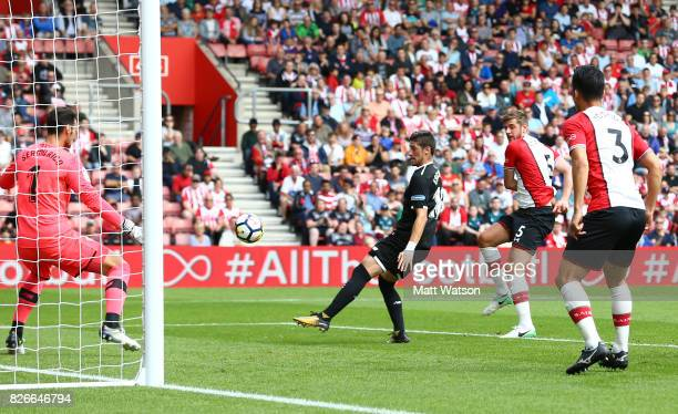 Jack Stephens of Southampton scores during the preseason friendly between Southampton FC and Sevilla at St Mary's Stadium on August 5 2017 in...