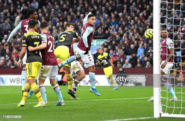 Jack Stephens of Southampton scores his team's second goal during the Premier League match between Aston Villa and Southampton FC at Villa Park on...