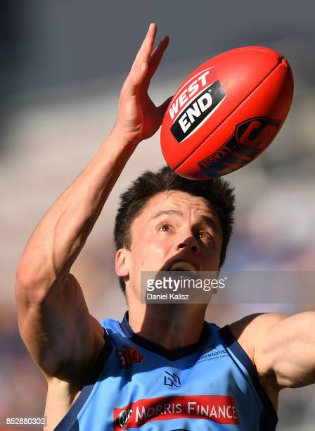 Jack Stephens of Sturt marks the ball during the SANFL Grand Final match between Port Adelaide and Sturt at AAMI Stadium on September 24 2017 in...