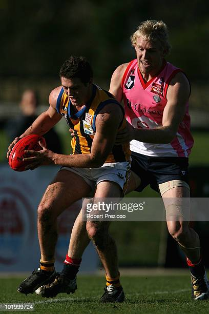 Jack Steven of Sandringham gathers the ball during the round nine VFL match between the Casey Scorpions and Sandringham at Casey Fields on June 12,...