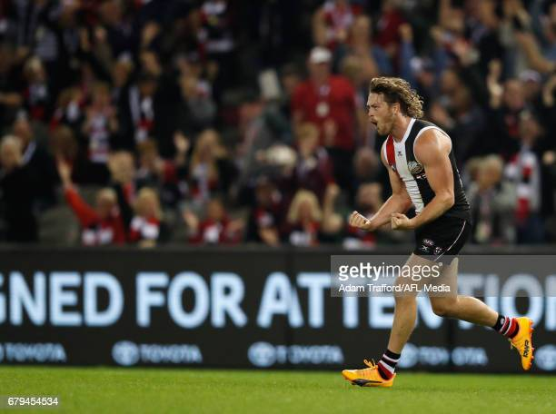 Jack Steven of the Saints celebrates a goal during the 2017 AFL round 07 match between the St Kilda Saints and the GWS Giants at Etihad Stadium on...