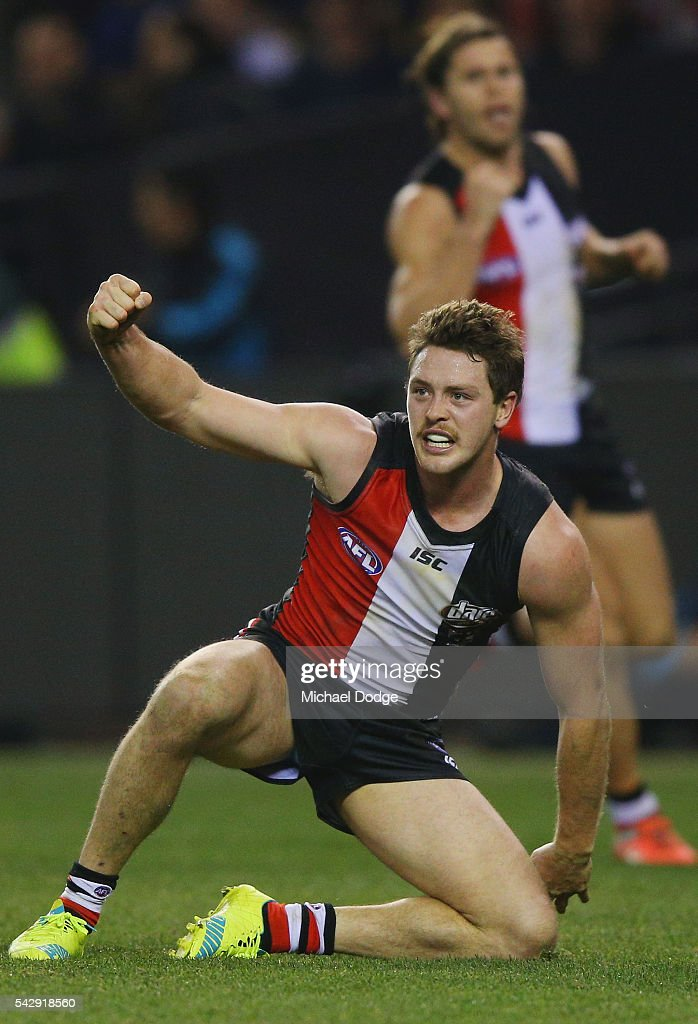 Jack Steven of the Saints celebrates the winning goal during the round 14 AFL match between the St Kilda Saints and the Geelong Cats at Etihad Stadium on June 25, 2016 in Melbourne, Australia.
