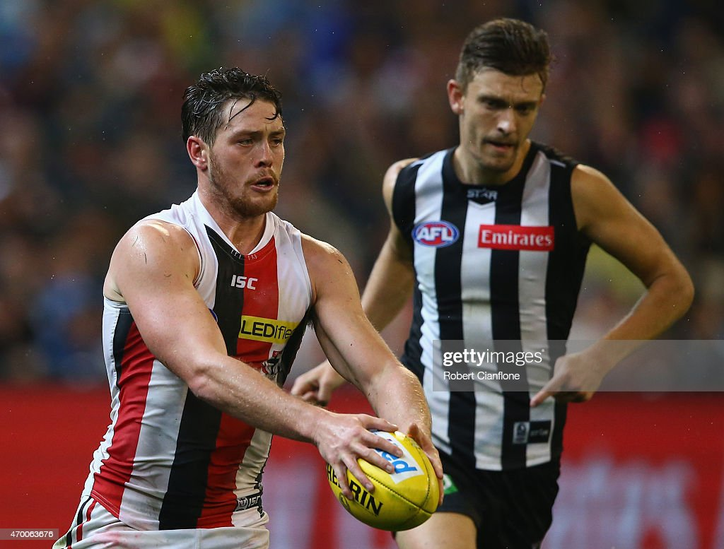Jack Steven of the Saints runs with the ball during the round three AFL match between the Collingwood Magpies and the St Kilda Saints at the Melbourne Cricket Ground on April 17, 2015 in Melbourne, Australia.
