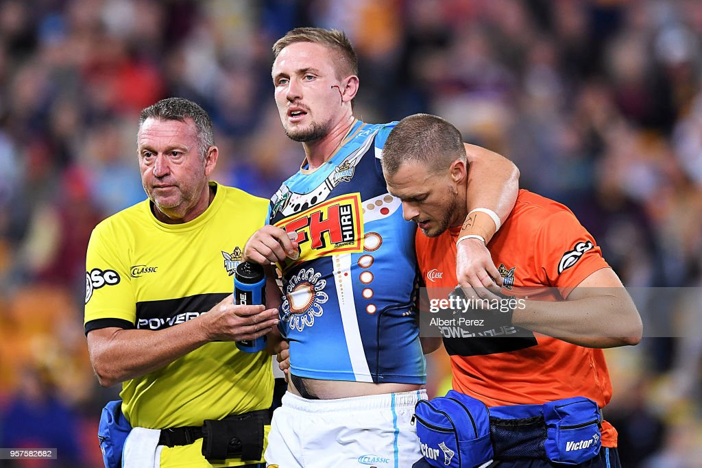 Jack Stockwell of the Titans is taken off the field injured during the round ten NRL match between the Melbourne Storm and the Gold Coast Titans at Suncorp Stadium on May 12, 2018 in Brisbane, Australia.