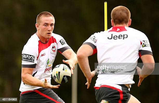 Jack Stockwell passes during a St George Illawarra Dragons NRL preseason training session at the University of Wollongong on November 22 2013 in...