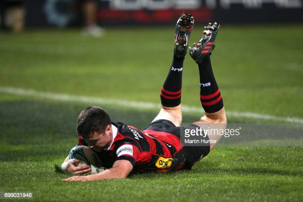 Jack Stratton of Canterbury dives over to score a try during the Ranfurly Shield match between Canterbury and Wanganui at AMI Stadium on June 21 2017...