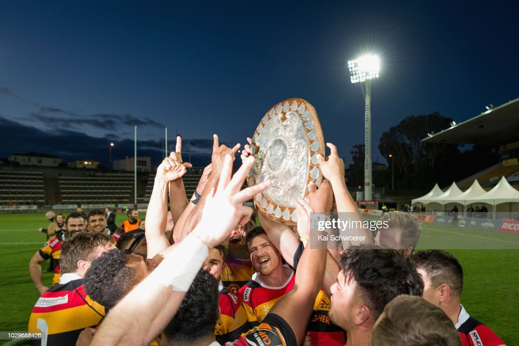Jack Stratton of Waikato (C) and his team mates lift the Ranfurly Shield after their win in the round four Mitre 10 Cup Ranfurly Shield match between Taranaki and Waikato at Yarrow Stadium on September 9, 2018 in New Plymouth, New Zealand.