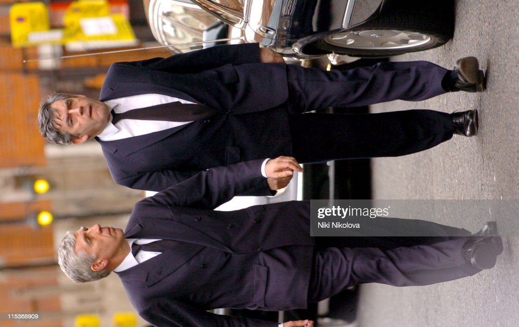 Jack Straw and Gordon Brown during Pope John Paul II Remembrance Service at Westminster Cathedral - Arrivals at Westminster Cathedral in London, Great Britain.