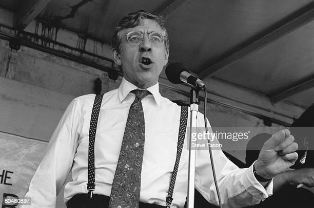 Jack Straw, the British Labour Party's shadow Home Secretary, speaking at an anti-racist demonstration, 17th April 1996.