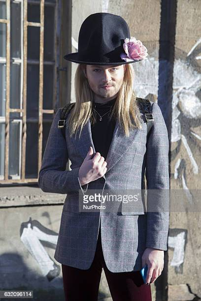 Jack Strify is seen after the Holy Ghost fashion show during the MercedesBenz Fashion Week Berlin A/W 2017 at the Kaufhaus Jandorf in Berlin Germany...