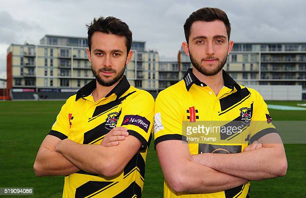 Jack Taylor of Gloucestershire and Matt Taylor of Gloucestershire pose during the Gloucestershire CCC Photocall at the County Ground on April 4 2016...