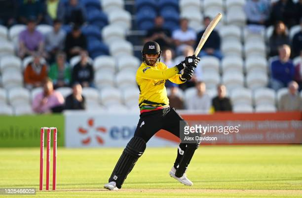 Jack Taylor of Gloucestershire bats during the Vitality T20 Blast match between Sussex Sharks and Gloucestershire at The 1st Central County Ground on...