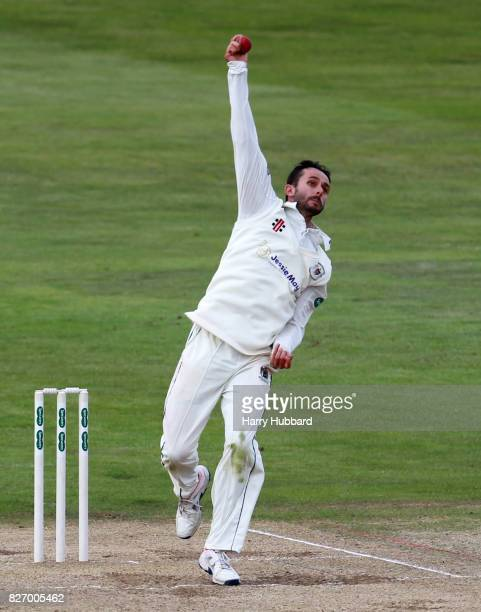 Jack Taylor of Gloucestershire bowls during the Specsavers County Championship Division Two match between Northamptonshire and Gloucestershire at The...