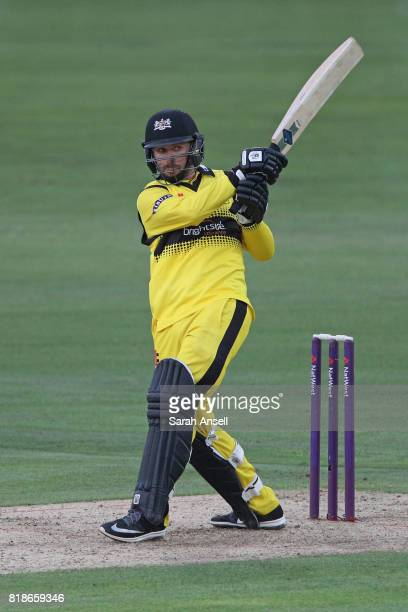 Jack Taylor of Gloucestershire hits out during the NatWest T20 Blast South Group match at The Spitfire Ground on July 18 2017 in Canterbury England