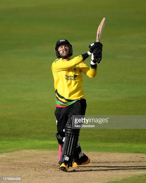 Jack Taylor of Gloucestershire hits out during the Vitality Blast 2020 Semi Final match between Surrey and Gloucestershire at Edgbaston on October 04...