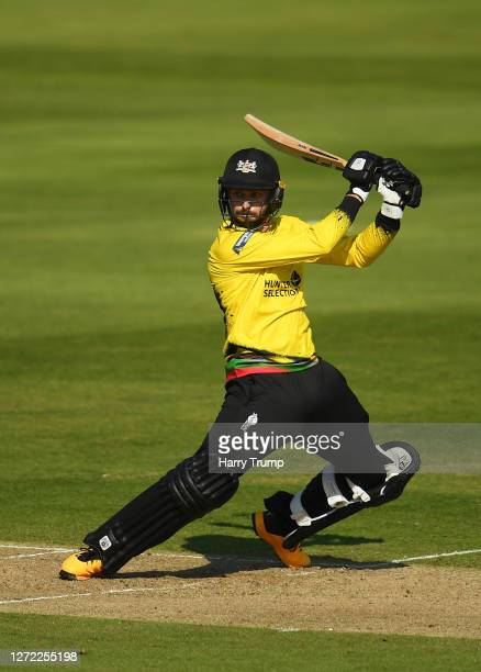 Jack Taylor of Gloucestershire plays a shot during the Vitality Blast match between Somerset and Gloucestershire at The Cooper Associates County...
