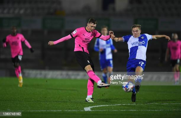 Jack Taylor of Peterborough United scores his sides first goal during the Sky Bet League One match between Bristol Rovers and Peterborough United at...
