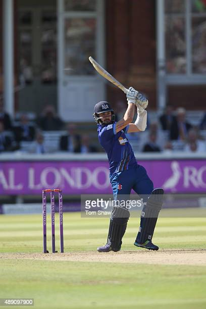 Jack Taylor or Gloucestershire hits out during the Royal London One Day Cup Final between Gloucestershire and Surrey at Lord's Cricket Ground on...