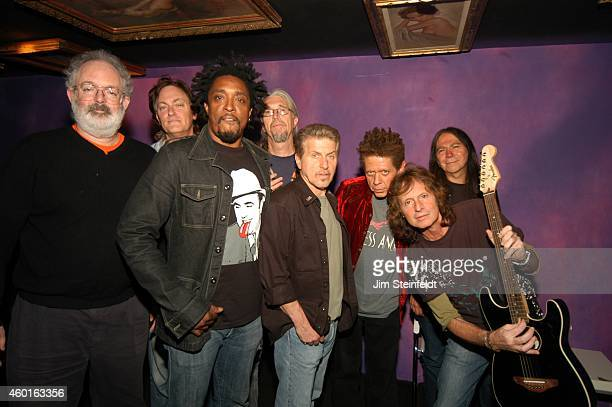 Jack Tempchin, Unknown, Bernard Fowler, Phil Jones, Johnny Rivers, Blondie Chaplin,Brett Tuggle, and Rick Rosas backstage at The Joint in Los...