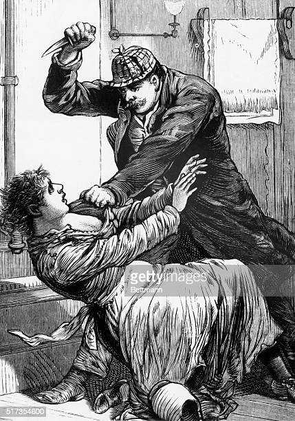Jack the Ripper in one of his notorious slashing attacks. From the Police Gazette, undated. BPA 2, #912.