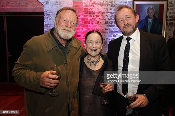 Jack Thompson Anne Schofield and Andrew Upton at the opening night of 'The Present' at Sydney Theatre Company on August 8 2015 in Sydney Australia