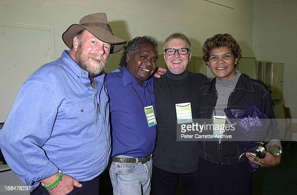 Jack Thompson Mandawuy Yunupingu Billy Thorpe and Jodie CockatooCreed backstage during the opening ceremony of the Sydney 2000 Paralympic Games at...