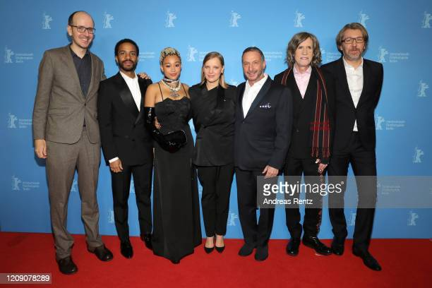 Jack Thorne Andre Holland Amandla Stenberg Joanna Kulig Alan Poul Glen Ballard and Olivier Bibas attend the Netflix premiere of The Eddy during the...