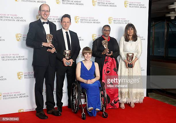 Jack Thorne Ben Anthony Ruth Madeley Pier Wilkie and Aysha Rafaele pose in the winners room at the House Of Fraser British Academy Television Awards...