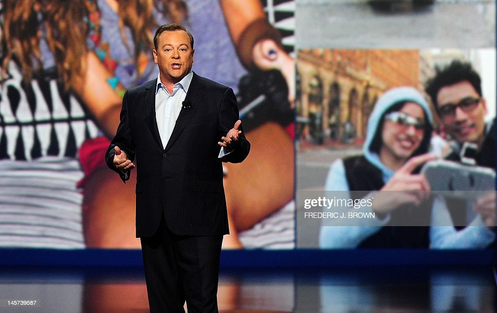 Jack Tretton, President and CEO of Sony Computer Entertainment of America, speaks on stage during the Sony Playstation press conference in Los Angeles on June 4, 2012 in California, where the entertainment giant introduced a line up of products for the world's most innovative and powerful gaming platforms. AFP PHOTO/Frederic J. BROWN