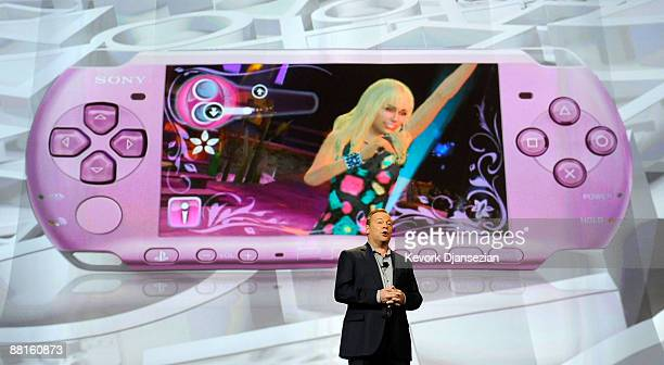 Jack Tretton President and CEO Sony Computer Entertainment America unveils the new pink Hannah Montanabranded version of the PSP portable gaming...