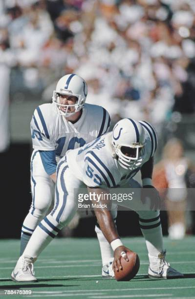 Jack Trudeau Quarterback for the Indianapolis Colts calls the play as Center Ray Donaldson#53 prepares to snap the ball during the American Football...