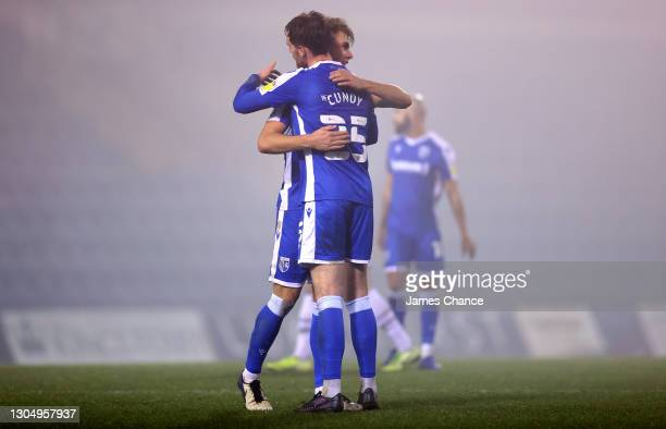 Jack Tucker and Robbie Cundy of Gillingham FC celebrate victory after the Sky Bet League One match between Gillingham and Milton Keynes Dons at MEMS...