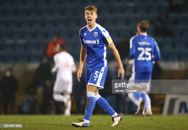 Jack Tucker of Gillingham FC reacts during the Sky Bet League One match between Gillingham and Milton Keynes Dons at MEMS Priestfield Stadium on...