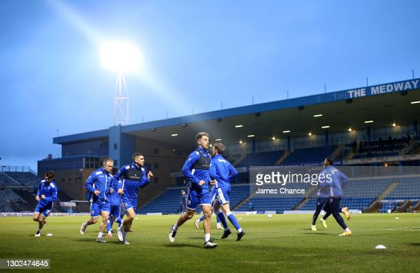 Jack Tucker of Gillingham FC warms up with his team mates prior to the Sky Bet League One match between Gillingham and Peterborough United at MEMS...