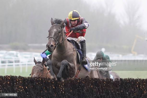 Jack Tudor riding Potters Corner clear the last to win The Coral Welsh Grand National Handicap Chase at Chepstow Racecourse on December 27, 2019 in...