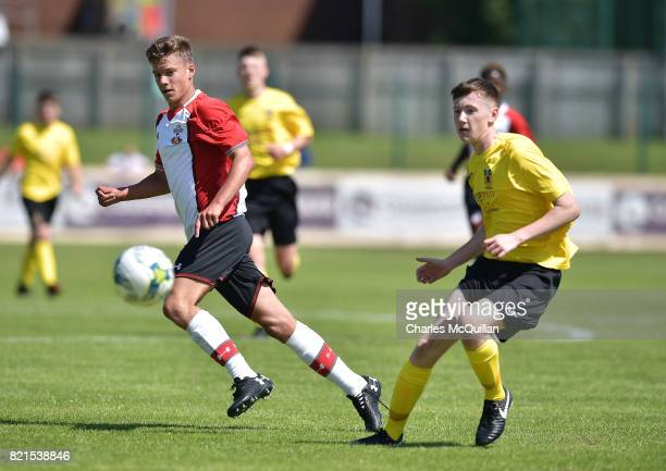 Jack Turner of Southampton and Leighton Jamieson of County Antrim during the NI Super Cup junior section game between Southampton and County Antrim...