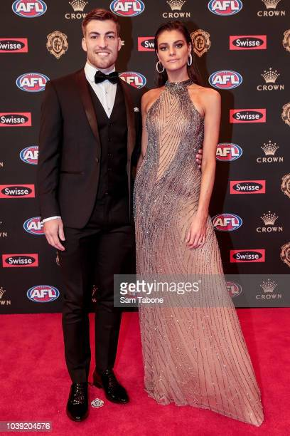 Jack Viney and Charlotte Ennels attends 2018 Brownlow Medal at Crown Entertainment Complex on September 24 2018 in Melbourne Australia