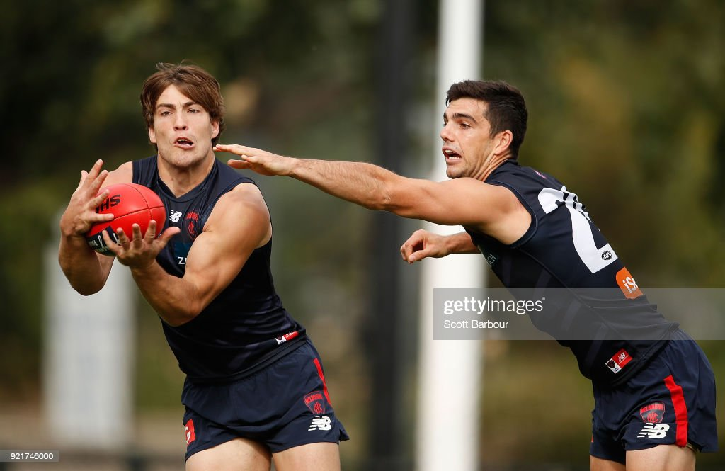 Jack Viney marks the ball during a Melbourne Demons AFL training session at Gosch's Paddock on February 21, 2018 in Melbourne, Australia.