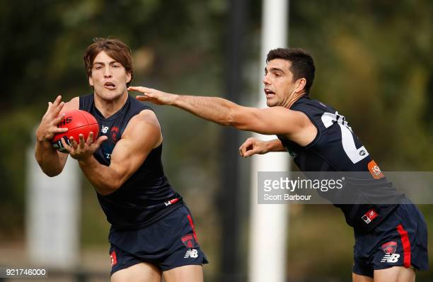 Jack Viney marks the ball during a Melbourne Demons AFL training session at Gosch's Paddock on February 21 2018 in Melbourne Australia