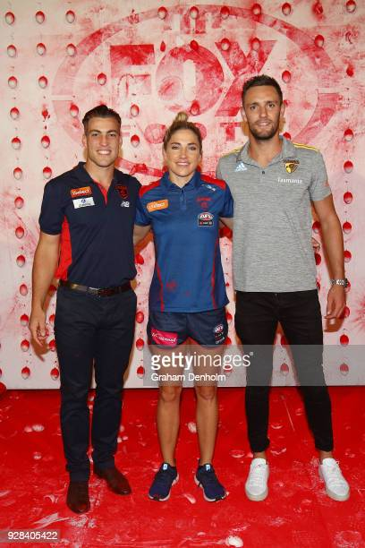 Jack Viney Mel Hickey and Jack Gunston pose during the 2018 FOX FOOTY AFL Season Launch on March 7 2018 in Melbourne Australia