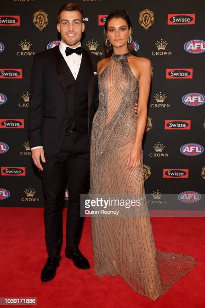 Jack Viney of the Demons and Charlotte Ennels arrive ahead of the 2018 Brownlow Medal at Crown Entertainment Complex on September 24 2018 in...