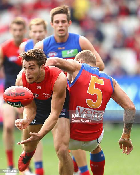 Jack Viney of the Demons handballs whilst being tackled by Mitch Robinson of the Lions during the round nine AFL match between the Melbourne Demons...
