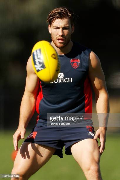 Jack Viney of the Demons in action during a Melbourne Demons AFL training session at Gosch's Paddock on April 6 2018 in Melbourne Australia