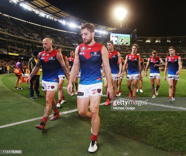 Jack Viney of the Demons looks dejected after defeat during the round 6 AFL match between Richmond and Melbourne at Melbourne Cricket Ground on April...