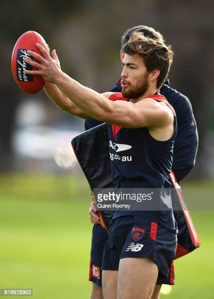 Jack Viney of the Demons marks during a Melbourne Demons AFL training session at Gosch's Paddock on July 18 2017 in Melbourne Australia