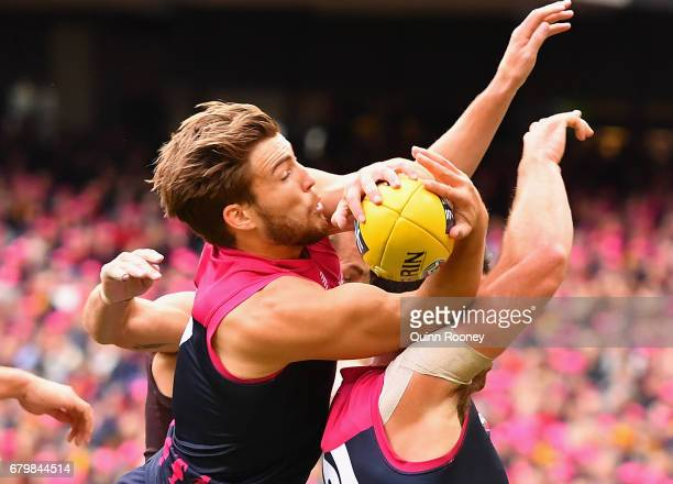 Jack Viney of the Demons marks during the round seven AFL match between the Melbourne Demons and the Hawthorn Hawks at Melbourne Cricket Ground on...