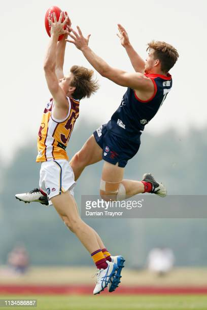 Jack Viney of the Demons plays in the VFL match before the 2019 JLT Community Series AFL match between the Melbourne Demons and the Brisbane Lions at...