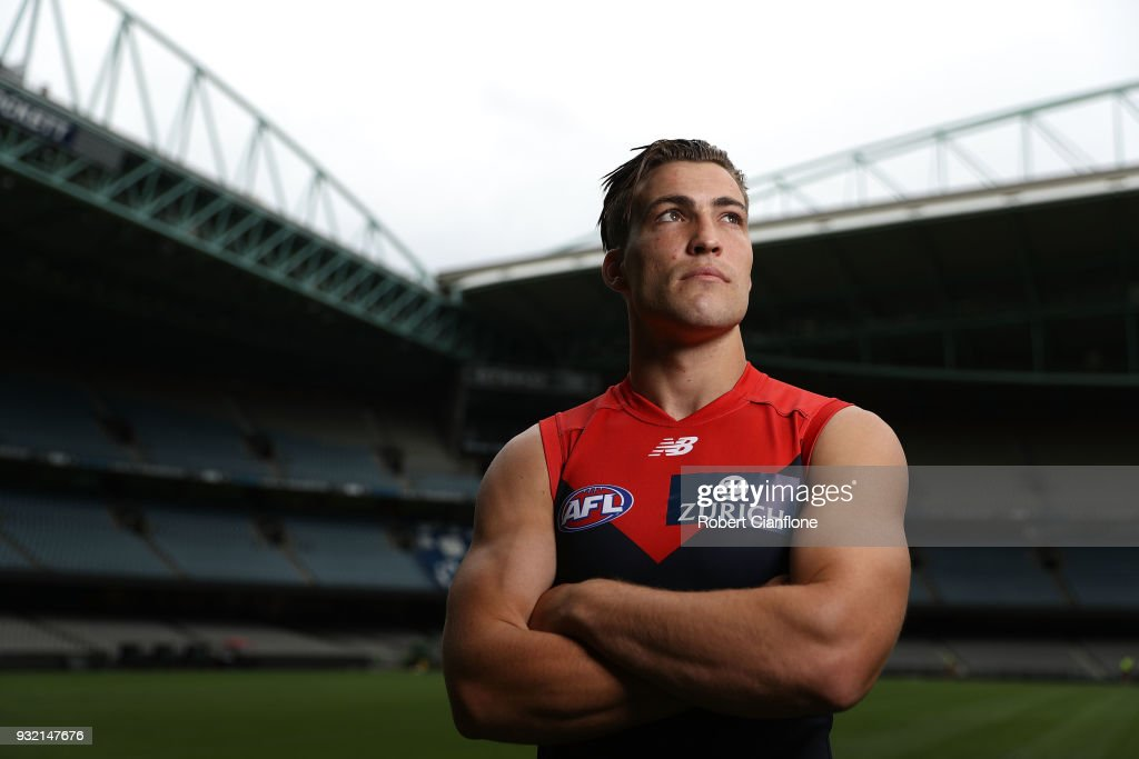 Jack Viney of the Demons poses during the 2018 AFL Captain's Day at Etihad Stadium on March 15, 2018 in Melbourne, Australia.